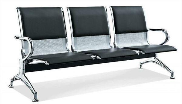 صورة لكرسي انتظار 3 مقعد 044-0012  جلد اسود