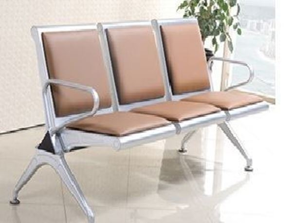 صورة لكرسي انتظار 3 مقعد  044-0014 سلفر بني