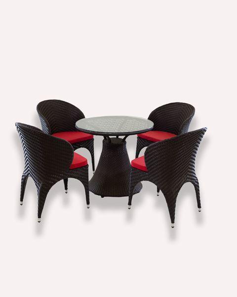 صورة لطقم طاولة +4 كرسي حدائق 302-0023 بني غامق وسادة احمر
